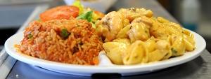 Shrimp and Tasoo Pasta with Jambalaya side from Crabby Jack's